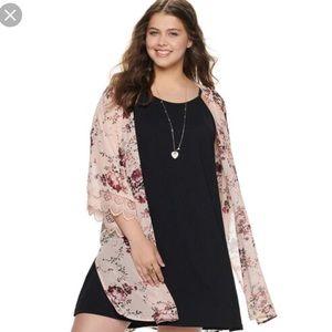 Wallflower Dresses - Juniors plus dress kimono combo